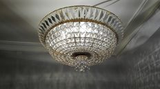 Crystal rock and bronze ceiling lamp