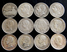 Spain – Provisional Government, Alfonso XII and Alfonso XIII – 12 silver coins of 50 cents – 1870 to 1926