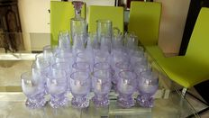 Original set of 12 crafted Crystal glasses lilac colour- consisting of bottle with stopper, jug, 12 glasses for water,12 wine glasses, 12 flutes - Italy - 70's of the 20th century