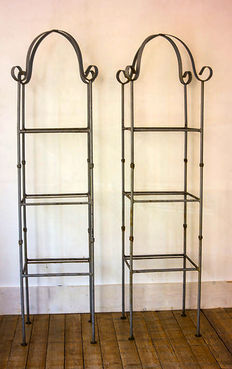 Two solid wrought iron etageres