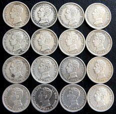 Spain - Alfonso XIII - 16 silver 50 cent coins from 1904 *10 PCV