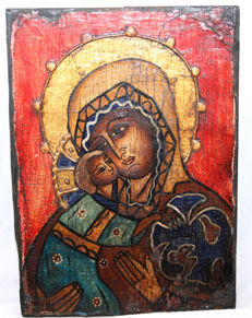 Very rare, large icon, 19th/20th cent., beautifully painted and coloured