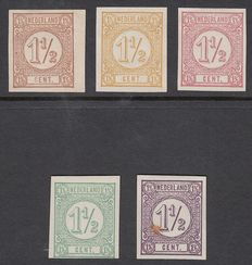 The Netherlands 1876 - Number, series of imperforate colour proofs in non-issued value 1½ cent – PC100a/e