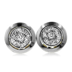 18K Bi-color 0.25ct Diamond Earrings, 1 cm diameter. 3 gram.