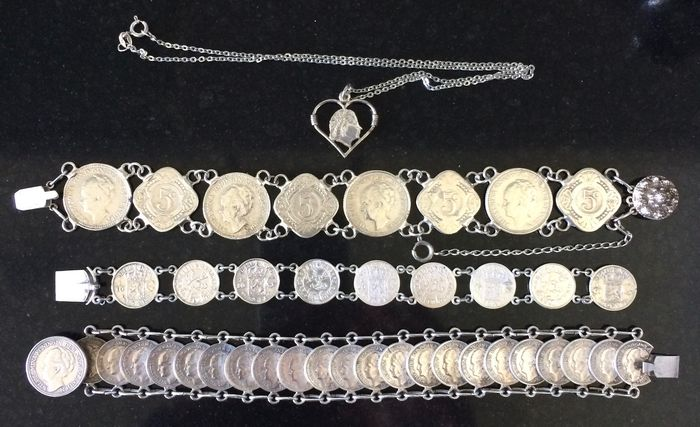 Silver bracelets and necklace, Dutch, Indonesian, dimes, quarter, half guilder, Wilhelmina, Juliana, Zeeland button