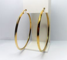 14 kt gold creole / hoop earrings, with four facets.