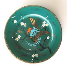 Emile Lombart for Faïenceries de Saint-Ghislain – Art Deco decorative plate with parrot and blossoms