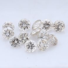 13 Round Brilliant Mix Color Diamonds – 0.45 ct. - *** NO RESERVE ***