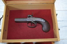 Percussion pistol, double barrel, beautiful box