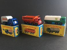 Lesney Matchbox - Misc. scales - Tippax Refuse Collector No.15, Foden Tipper No.17 and Leyland Tanker No.32