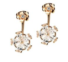 14 kt gold earrings set with pear cut zircons