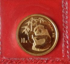 China - 10 Yuan 1995 Panda mit Bambuszweig - 1/10 oz