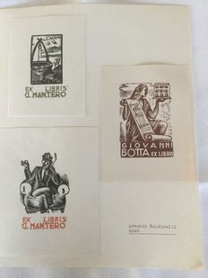 Ex-libris; Lot with 62 ex-libris of Italian artists - 1935 / 1950