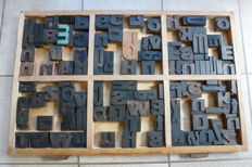 Old typecase tray from a letter box of a printing company with ca. 100 original printing types, Mid 20th century, the Netherlands