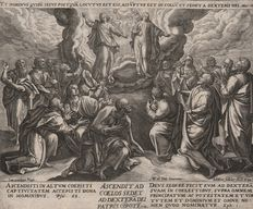 Jan Sadeler I  ( 1550 - 1600 ) -The Trinity appearing to the Apostles and the Virgin - 1579