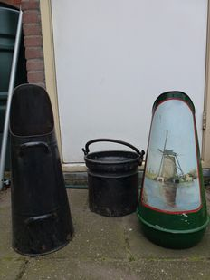 1 Green decorated coal scuttle with image, 1 black coal scuttle, 1 iron antique  bucket.