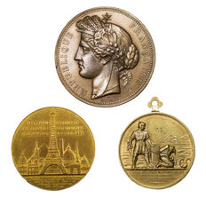 France - Lot of 3 medals from the 19th century - Bronze, copper & golden bronze