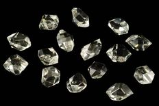 Lot with quartz crystals - Herkimer diamond - Top quality -  15 x 12 to 18 x 15 mm (15)