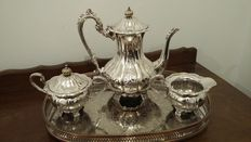 teacoffeepot set ,sugar bol ,milk jug silver plated hand chased copper,cavalier made in england.