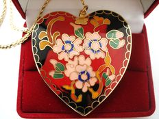 Vintage 1970s – Canada - Gold plated chain with Reversible Huge Heart Pendant - colorful Enamel on each side