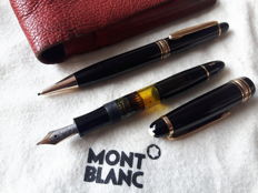 Vintage Montblanc Meisterstück Duo-set - No. 142 fountain pen and 392 mechanical pencil - 14 K golden nib (KF) - in leather case