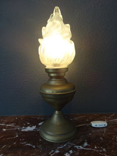 Brass table lamp with mat glass 'torch' shade, second half of the 20th century