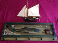 Vintage boat and fishing coat rack in wood, 1980