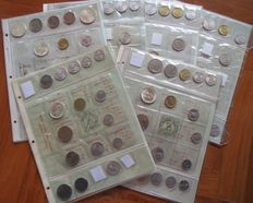 Republic of Italy - Lot of 63 coins + 6 divisional series (included in the lot are silver ones and 2 x 5 Lire 1969 with 1 inverted)