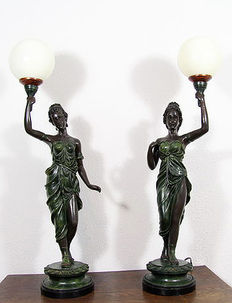 Two art deco style table lamps Woman on pedestal, Netherlands, mid 20th century