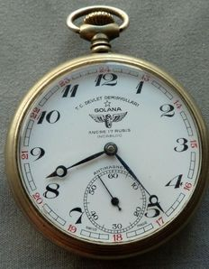 Steam Train Golana art deco antique pocket watch