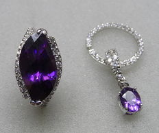 A silver ring and big pendant with lavender amethyst and 69 small stones