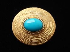 Vintage 1970s, yellow gold plated Modernist high domed brooch with cabochon, No Reserve