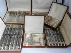 Silver plated Art Deco cutlery for 12 persons in cases - 96 piece set