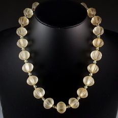 Ancient crystal melon beads necklace - 50 cm