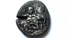 Greek Antiquity - Thraco-Macedonian Tribes, The Orreskioi. Circa 500-480 BC. AR Stater/  Centaur carrying nymph right-Helmet/ Extremely Rare/Privately purchased from Fritz-Rudolf Künker.