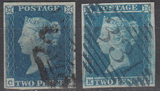 Great Britain 1840/1841 – 2d blue, Stanley Gibbons 5, 14
