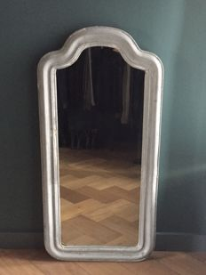 A grey painted mirror, France, 19th century