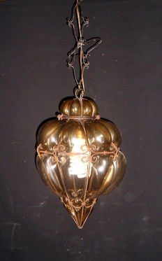 Antique Venetian Murano glass Lantern inside iron cage large Venetian Lamp