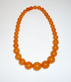 Baltic amber beads necklace in old orange colour