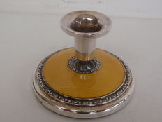 Silver guilloche enamel candle stand, Norsk Sølvvareindustri, Norway, c1940