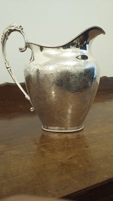 vintage ornate silver plated large jug floral chased engraved