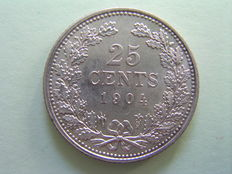 The Netherlands - 25 cents, 1904, Wilhelmina of the Netherlands - silver