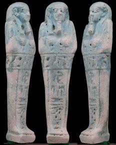 Egyptian nice blue faience Shabti for Amenirdis born from Merenwedjat - ca. 11 cm - c. 4,21 inches