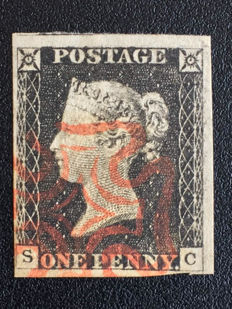 Great Britain Queen Victoria 1840 - Penny Black, Stanley Gibbons 1, Plate 2