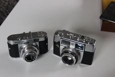 Voigtländer Vito B  and   Agfa Optima 1a,  2 miniature cameras 24 x 36mm, approx. 60's