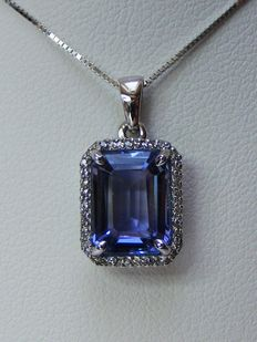 Gold necklace and pendant with diamonds and VVS tanzanite of 3.35 ct  – No reserve price