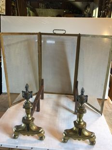Pair of andirons and fire guard in bronze and brass Louis XVI style, France, 1940s