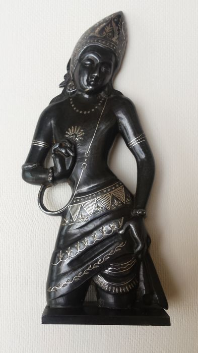 Patinated Bidri statue with silver - India - late 20th century