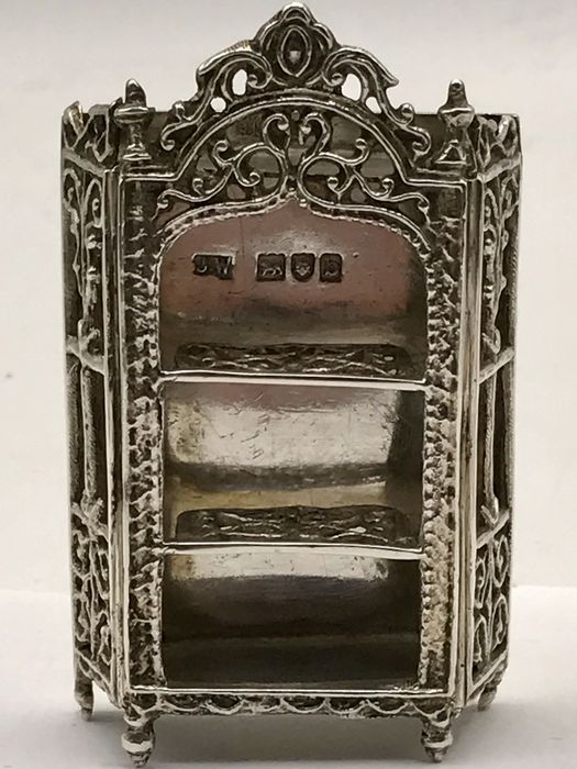 Large Antique English Silver Miniature Of A Crested Cabinet