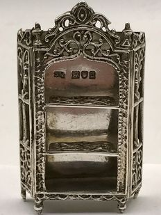 Large antique English silver miniature of a crested cabinet -London 1896